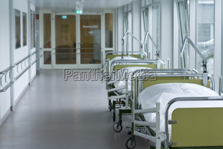 hospital corridor with beds