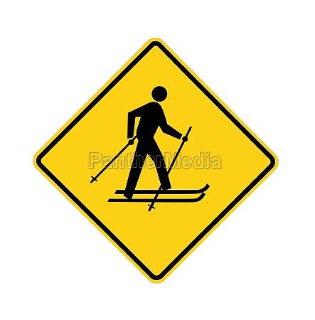 road sign yellow cross