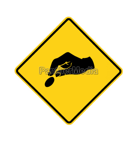 road sign yellow paying