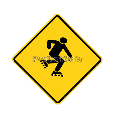 road sign yellow skater