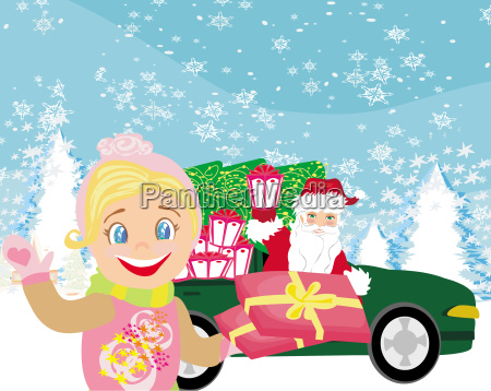 santa claus driving car with christmas