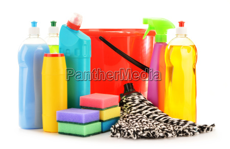 detergent bottles isolated on white chemical