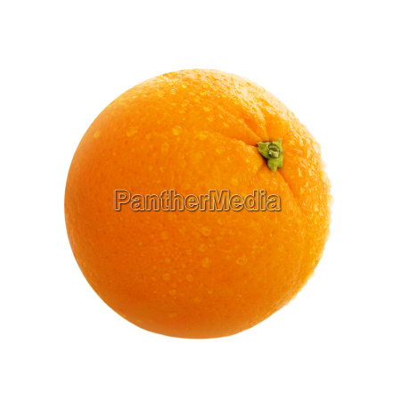 orange with water drops isolated on