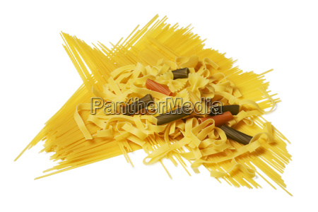different noodle sorts isolated on white