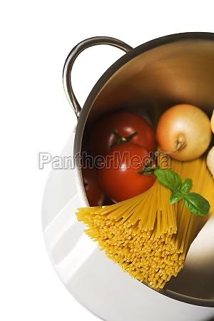 spaghetti pot isolated on white background