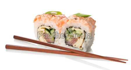two sushi with chopsticks