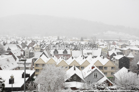 snowcapped houses in town herborn hesse