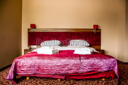 double bed in luxury hotel room