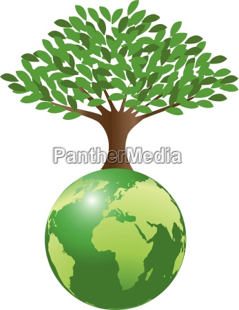 earth with tree symbolizing the ecological