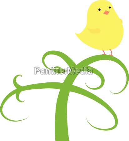 chick on a branch as easter