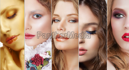 collage set of womens faces with