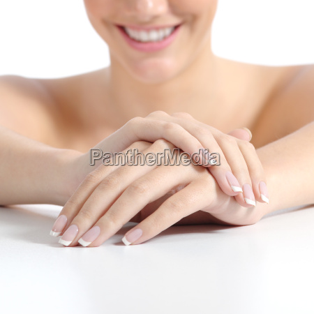 beautiful woman hands nails with perfect