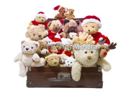 isolated old teddy bears in a