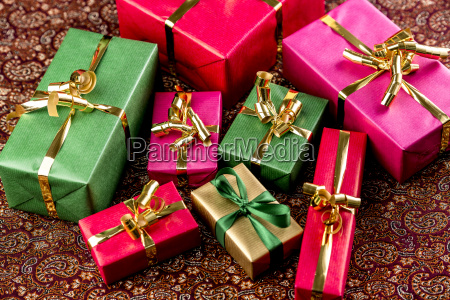 gifts wrapped in vibrant colorsr