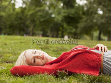 one woman only relaxing sleeping nature