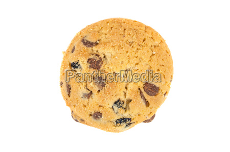 chocolate chips cookies on a white