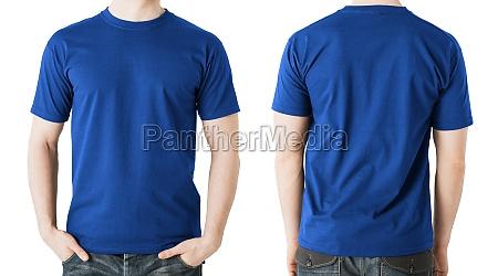 man in blank blue t shirt