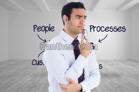 composite image of thinking businessman holding