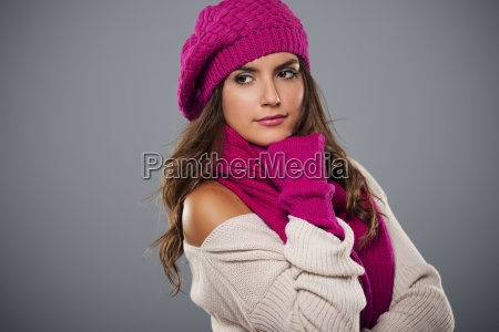 portrait of fashionable woman in winter