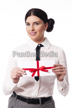 smiling, woman, giving, a, business, card - 12112200