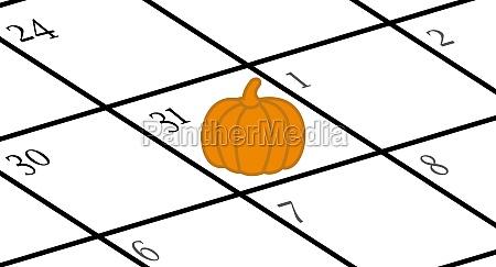 calendar with halloween marked