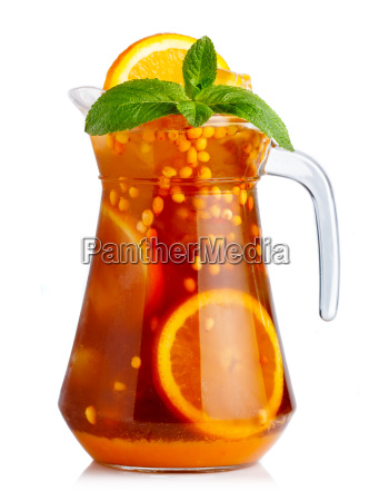 full jug of nonalcoholic cocktail with