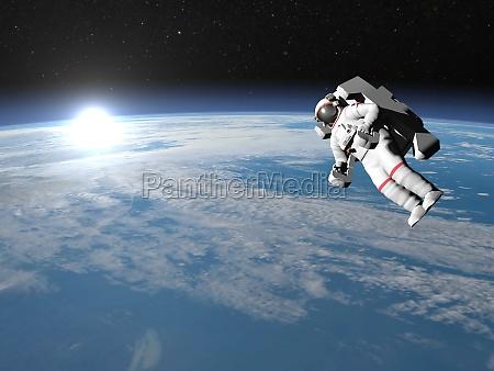astronaut or cosmonaut flying upon earth