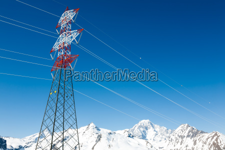 high voltage power lines in winter