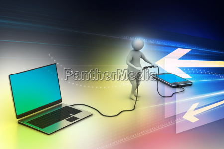 3d man connecting laptop and mobile