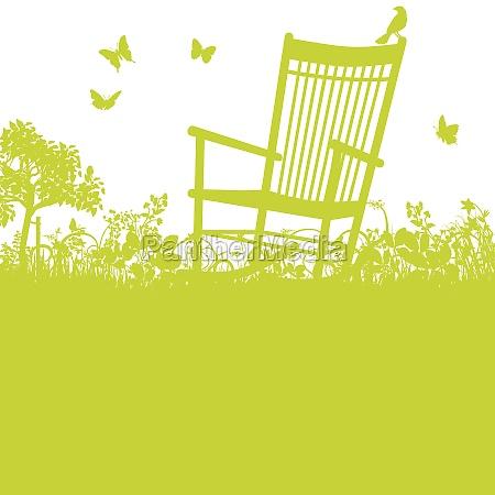rocking chair in the garden