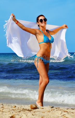 young woman on the mediterranean beach