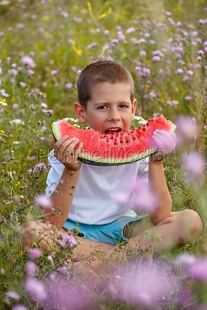 boy eats a watermelon