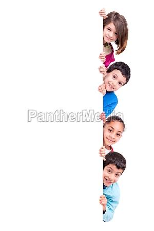 kids over white board