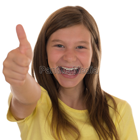 laughing girl shows thumbs up