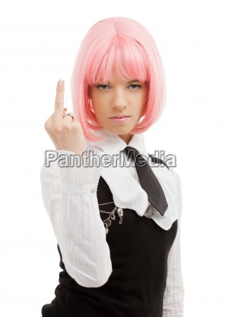 schoolgirl with pink hair showing middle