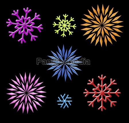 rainbow snowflakes clip art on black