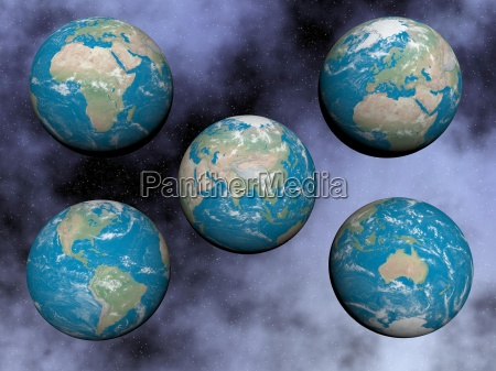 continents on the earth 3d