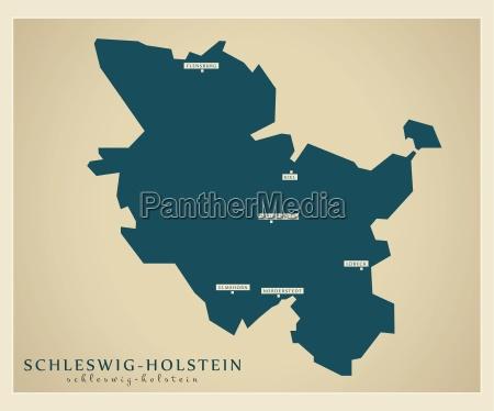 modern map schleswig holstein