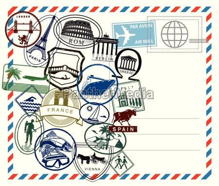 world travel airmail stamp on white