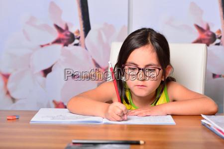 little cute girl doing homework