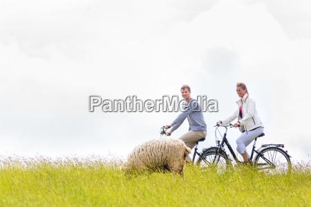 couple on coastal bike tour on