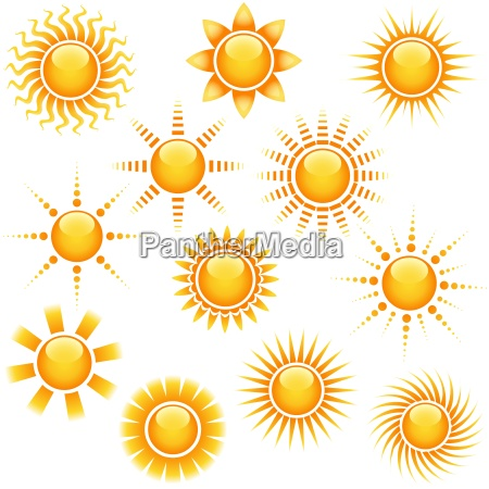 sun icon collection abstract illustrations