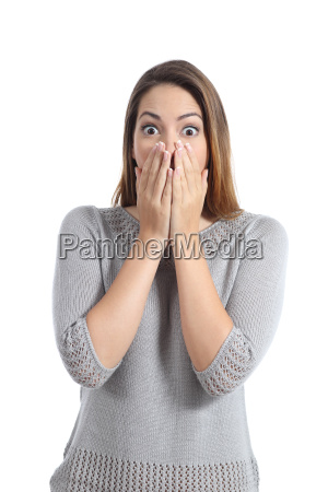 surprised woman expression with wide opened
