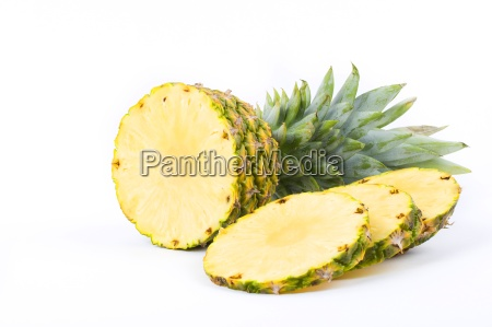 pineapple with slices on a white