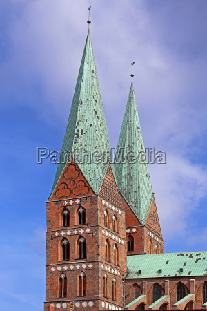 steeples of the marienkirche in luebeck