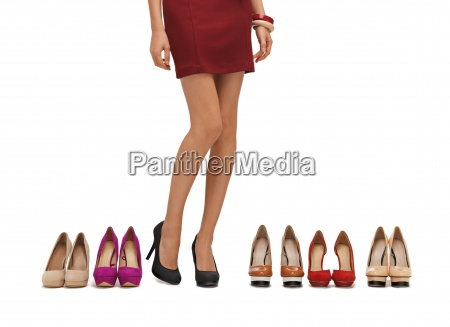 womans long legs with high heels