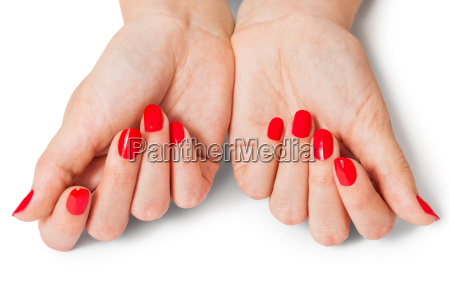 female hands with beautiful manicured fingers