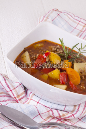 bowl of stew goulash soup with