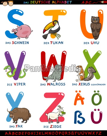 cartoon german alphabet with animals