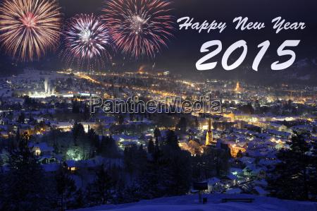 fireworks at new year 2015 garmisch